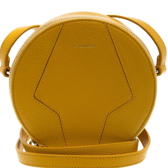 Furla Handbags - Furla Yellow Leather Mini Perla Round Crossbody
